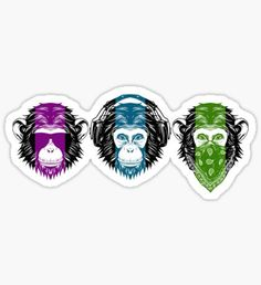 See Hear Speak Nothing Sticker Moños Tattoo, Gorilla Tattoo, Monkey Tattoos, Famous Tattoos, Wise Monkeys, Weed Art, Monkey Business, Stickers, Skin Art