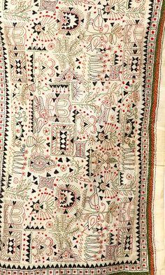 Beige Kantha Scarf With Hand Embroidered Warli Motifs Indian Embroidery, Hand Embroidery Designs, Diy Embroidery, Embroidery Stitches, Embroidery Patterns, Saree Tassels Designs, Indian Quilt, Kantha Quilt, Quilts
