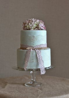 Vintage lace and mint green wedding cake with fresh hydrangeas, by Sweet and Swanky Cakes in Bend, OR