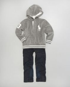 Ralph Lauren Childrenswear Rugby Hoodie & Slim-Fit Jeans from Neiman Marcus at 150 WORTH.
