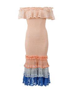 JONATHAN SIMKHAI Ruffle Crochet Off Shoulder Gown. #jonathansimkhai #cloth #gown