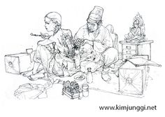 Dive into The Art of Kim Jung Gi, a korean artist born in 1975 in Goyang-Si in the province of Kyongki-Do. Character Sketches, Character Illustration, Illustration Art, Figure Sketching, Figure Drawing, Reference Manga, Drawing Reference, Junggi Kim, Character Design