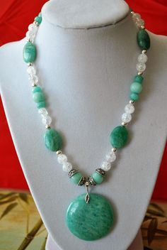 Amazonite, Crackled Quartz, and Sterling Silver Necklace by BGsJewelryCreations on Etsy
