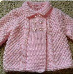 Baby Cardigan Knitting Pattern Free, Lace Knitting Patterns, Hoodie Pattern, Jacket Pattern, Knit Baby Dress, Knit Baby Booties, Knitting For Kids, Baby Knitting, Knitted Baby