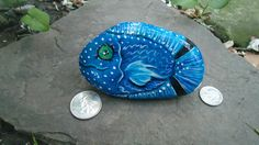 Hand Painted Rock Blue Tropical Fish Magnet by JessnJoannCreations, $10.25