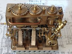 Triple expansion steam engine working model Mechanical Computer, Engine Working, Stirling Engine, Maker Shop, Steampunk Accessories, Old Tractors, Steamers, Small Engine, Steam Engine