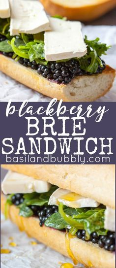 Blackberry Brie Sandwich Brie, blackberries, honey, and a lemon arugula salad all on a crusty French bread. Amazing idea for a picnic lunch! Don't forget the champagne lol Brie Sandwich, Sandwich Recipes, Lunch Recipes, Gourmet Recipes, Healthy Recipes, Picnic Recipes, Cake Recipes, Cooking Recipes, Healthy Options