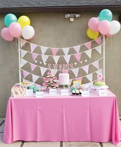 Pink and garden dessert table ~Gorgeous Little Deer Garden Birthday Party