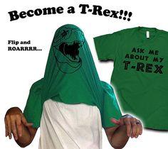 Ask Me About My T-Rex: dinosaur flip shirt by CrazyDogTshirts