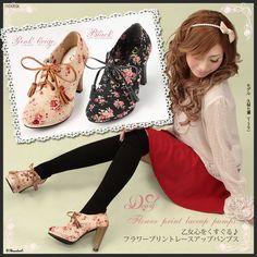 Floral Oxford Heels from DreamV on Rakuten Korean fashion