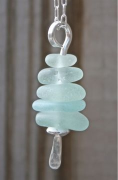 Fabulous beach glass and sterling cairn pendant!  Made in America by a California artist!