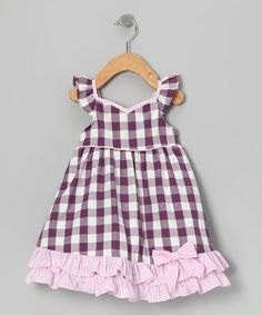 Take a look at this Purple & Pink Checkerboard Ruffle Dress - Infant, Toddler & Girls by Gidget Loves Milo on #zulily today!