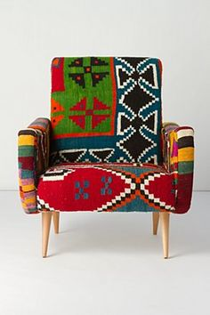 One-Of-A-Kind Berr Armchair, Bow-Ties; This would pop in a neutral room! Bohemian Furniture, Bohemian Decor, Patchwork Sofa, Colorful Chairs, Dream Decor, Bow Ties, Home Textile, Home Decor Inspiration, Girl Room