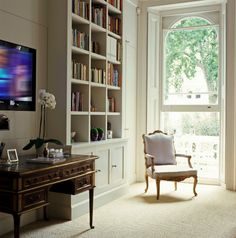 Charlotte Barnes | Chic, White Room with Great Built-ins
