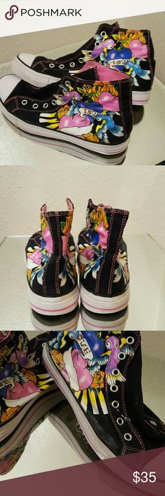 Fubu  painted high tops Black with pink lining, blue & purple swallows and pink hearts and orange roses etc., minimal signs of wear, some surface texture marks otherwise great condition. Fubu  Shoes Sneakers