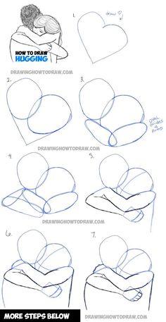 Faites quelques câlins - deux personnes se serrent dans les bras  #calins #DrawingHow #faites #personnes #quelques #serrent