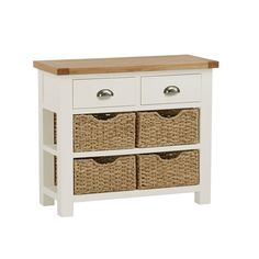 Purbeck Painted Oak - Console Table With Baskets Garden Furniture Sale, At Home Furniture Store, White Sideboard, Oak Sideboard, Hallway Furniture, Dining Room Furniture, Wood Sample, Small Drawers, Oak Cabinets