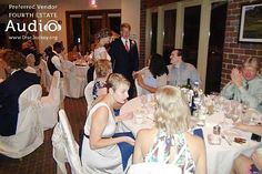 The Pomeroys visit their guests at their dinner tables. http://www.discjockey.org/real-chicago-wedding-sept-3-2016/