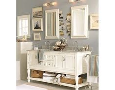 I love this bathroom - that soft grey is exactly what I just started putting in my Master Bath