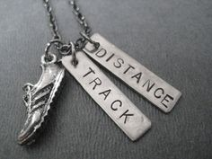 RUN TRACK DISTANCE Necklace - Running Necklace on 18 inch gunmetal chain - Track Jewelry