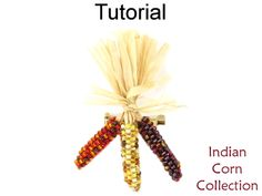 Beaded Indian Corn Pendant Necklace Earrings Broach Autumn Fall Jewelry Making Beading Patterns Tutorials | Simple Bead Patterns