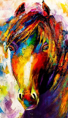 Colorful horse painting Abstract painting 72 x 36 by OsnatFineArt