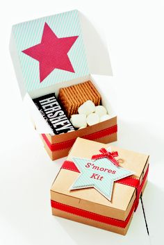 For a summer camp-out or party, these  S'mores kits from the Summer 2012 issue of Seasons are sure to bring out the kid in you.