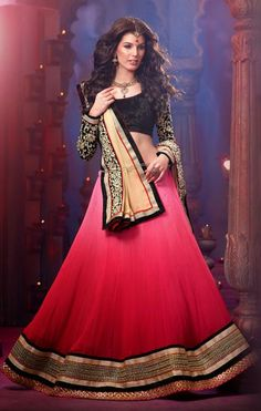 USD 116.31 Pink Faux Georgette Party Wear Lehenga Choli 30366