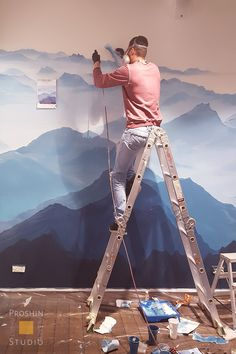 Роспись стены в офисе компании S.A.Ricci. Горы. Процесс работы.  http://rospissten.moscow/