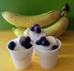 Banana Parfaits - layers of fresh sliced bananas, topped with Greek vanilla yogurt and a few fresh or frozen blueberries.  Easy!