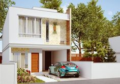 Duplex para terreno angosto Garage Ouvert, Future House, My House, House Roof Design, Model Homes, Little Houses, Small Apartments, Modern Architecture, Facade