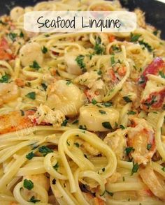 Seafood Linguine - easy to throw this yummy dish together. Serve over pasta or rice. *Calls for frozen and/or canned seafood. I use fresh fish when preparing seafood dishes. Seafood Linguine {Recipe} Vanessa Henke Food Seafood Linguine - e Think Food, I Love Food, Good Food, Awesome Food, Fish Dishes, Tasty Dishes, Main Dishes, Seafood Linguine, Seafood Scampi Recipe