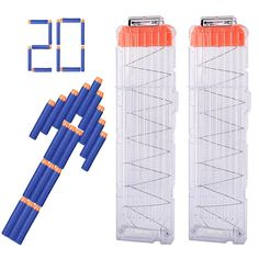 HOSIM 2 Packs18-Dart Quick Reload Refill Clip Cartridge Magazine Clips for Nerf Toy Gun with 20 Blue Dart Refill Packs Refill Foam Darts Refill Bullet Darts. 【Univeral Bullet Clips】It work with any Nerf guns that accept standard elite darts, such as N-Strike Elite,. 【High Capacity】 It can hold 18 foams or soft bullets, It is better lets you enjoy the pleasure of shooting without reloading. 【Interesting Design】 When they run out of darts, so load up on firepower with this 18-dart Quick…