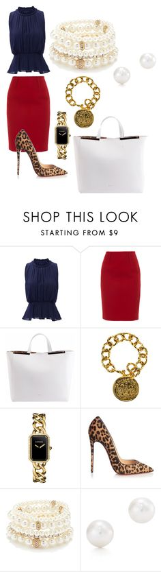 """""""Untitled #105"""" by onthe3tobk ❤ liked on Polyvore featuring Greylin, Paule Ka, N°21, Chanel, Christian Louboutin, Forever 21 and Tiffany & Co."""
