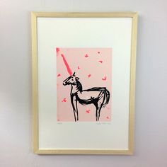 Screen print in 3 colours of a unicorn. Edition of The unicorn is based of an ink drawing. it's on a light pink background. It is based on a series of drawings for a small artist book called 'Unicorn tale -. All Print, Screen Printing, Unicorn, Colours, Ink, Drawings, Paper, Artist, Prints