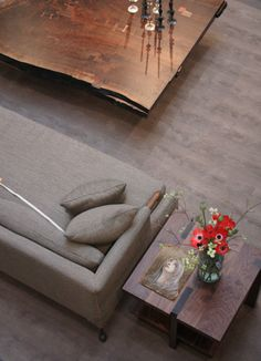 Beautiful coffee table from BDDW. The couch isn't bad either.
