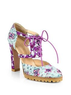 Ladylike florals make this lace up bootie modern!