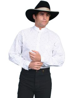 Scully Rangewear Mens White 100% Cotton L/S Tombstone Western Shirt