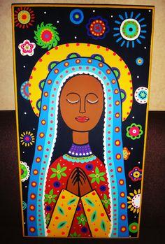 Virgen de Guadalupe pintada a mano sobre retablo de madera estilo Mexicano