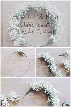 de flores How to Make a Baby's Breath Flower Crown - Zoe With Love Blumenkranz diy -Taufe - Hochzeit - How to Make a Baby's Breath Flower Crown Baby Breath Flower Crown, Babys Breath Flowers, Diy Flower Crown, Diy Crown, Diy Flowers, Wedding Flowers, Flower Crowns, Babies Breath Bouquet, Babys Breath Crown