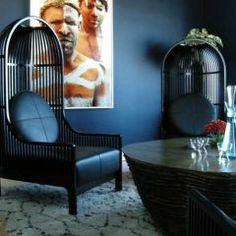 dark walls, great bird cage chairs