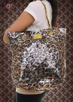 $19 www.cestchiconline.com  Sequin Chain Purse in Leopard