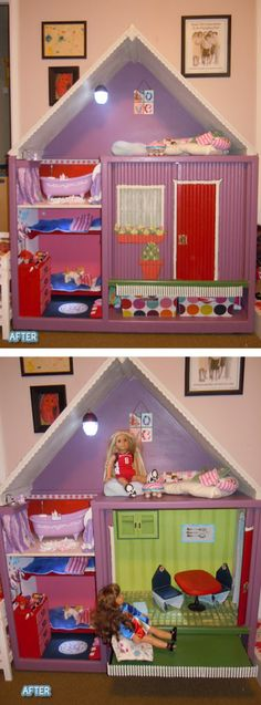 I never thought of using an entertainment center as a doll house. So smart!!