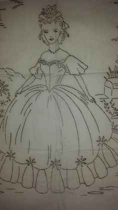 Vintage Robin Embroidery Crinoline Lady with Dogs Transfer Pattern 8125