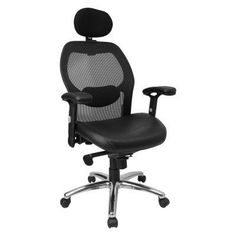 Flash Furniture High Back Super Mesh Office Chair - Black Italian Leather Seat - LF-W42-L-HR-GG