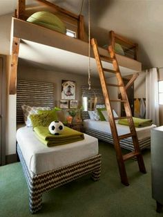 Cool bedroom- love the upstairs area