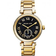 Michael Kors Watches Large Skylar Bracelet Watch MK5989 ($255) ❤ liked on Polyvore featuring jewelry, watches, accessories, bracelets, relógios, gold, roman numeral jewelry, watch bracelet, bracelet watch and stainless steel bracelet watch