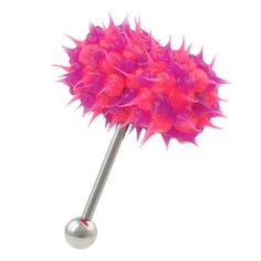 Vibrating KOOSH TONGUE Ring Barbell Soft Body Jewelry Vibe Bell Pink & Purple !!!
