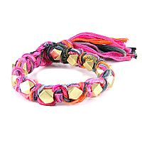 Multi Fuchsia Vintage Ribbon Large Faceted Beads Knotted Bracelet #ettika #rocker #rockandroll #jewelry #accessories #black #pink