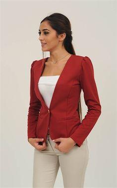 LEFON PENYE CEKET BORDO 5571 Blazer, Sweaters, Jackets, Women, Fashion, Down Jackets, Moda, Fashion Styles, Blazers